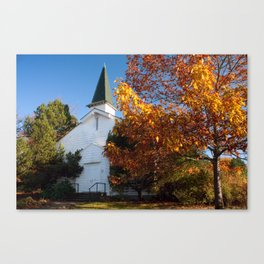 Old White Church in Autumn Canvas Print