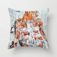 fifth element Throw Pillows featuring LEELOO THE FIFTH ELEMENT by JANUARY FROST
