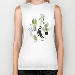 Black cat and plants in the pots. Morning stretch Biker Tank
