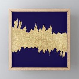 Modern abstract navy blue gold glitter brushstrokes Framed Mini Art Print