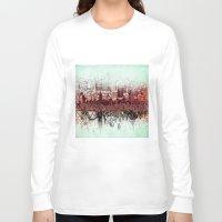 new york Long Sleeve T-shirts featuring New York New York by Bekim ART