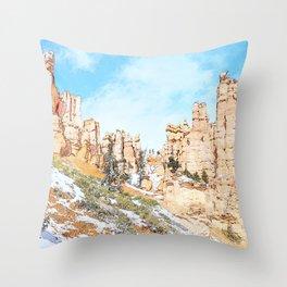 Distant Cliffs Throw Pillow