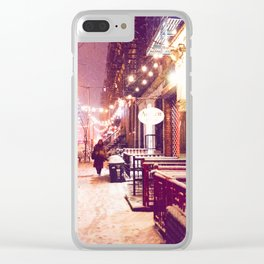 Winter Night with Snow in the East Village New York City Clear iPhone Case