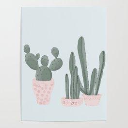 Soft Pastel Cacti Design Poster
