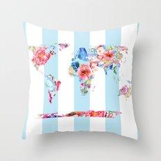 Floral World Stripe Throw Pillow