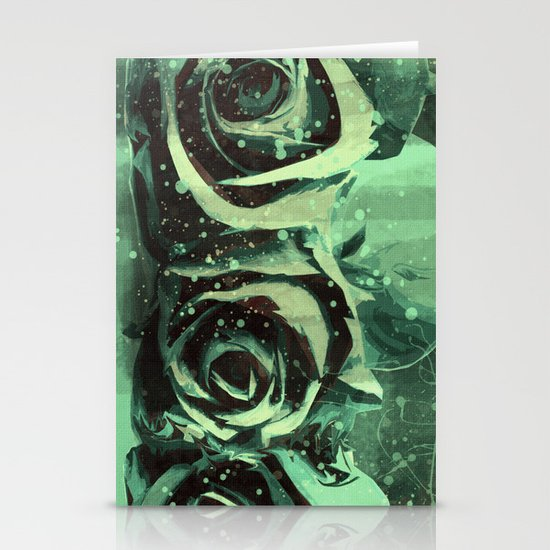 Turquoise Roses Stationery Cards