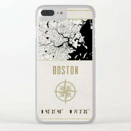 Boston - Vintage Map and Location Clear iPhone Case