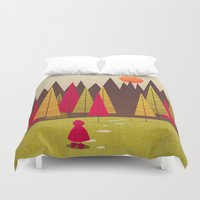 red riding hood Duvet Covers featuring Little Red Riding Hood by Annisa Tiara Utami