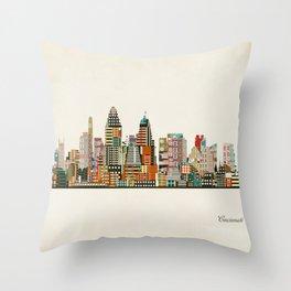 Cincinnati Ohio skyline Throw Pillow