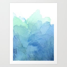 Abstract Watercolor Texture Blue Green Sea Sky Colors Art Print