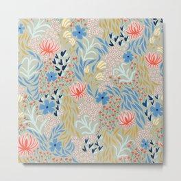 Flower Picking - Light Olive Metal Print