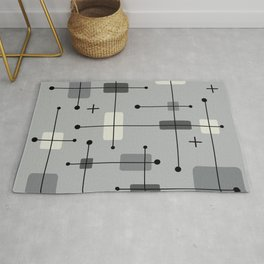 Rounded Rectangles Squares Gray Rug