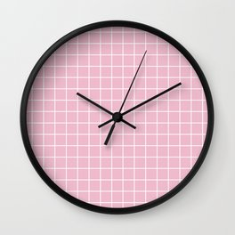 Cameo pink - pink color - White Lines Grid Pattern Wall Clock