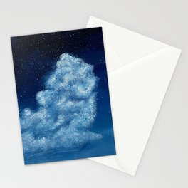 Midnight Blue Cloud Painting Stationery Cards