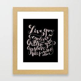 Beauty quote - Hand-lettering - Eyeliner, lipstick - Girl boss Framed Art Print