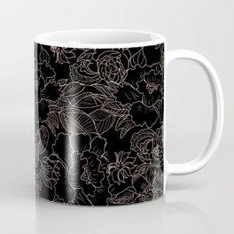Pink coral tan black floral illustration pattern Coffee Mug
