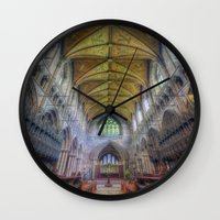 shining Wall Clocks featuring Shining Faith by Ian Mitchell
