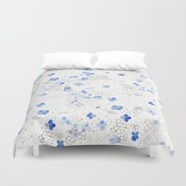 blue abstract hydrangea pattern Duvet Cover