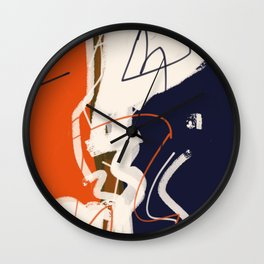 abstract painting orange blue Wall Clock