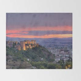 The alhambra and Granada city at sunset Throw Blanket