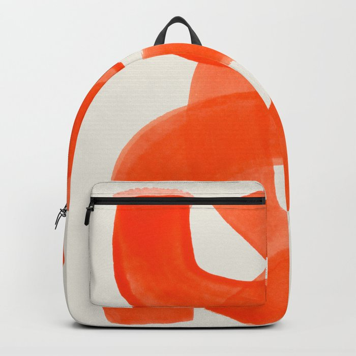 Mid Century Modern Abstract Painting Orange Watercolor Brush Strokes Rucksack