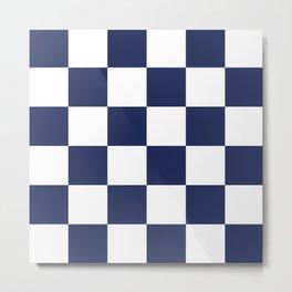 Checker Pattern 339 Navy Blue Metal Print