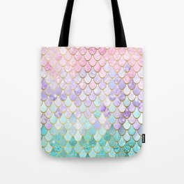 Iridescent Mermaid Pastel and Gold Tote Bag