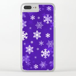 Light Purple Snowflakes Clear iPhone Case