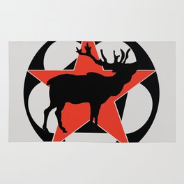 True North Elk Cabin Art Rug