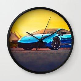 Blue Mirror Wall Clock