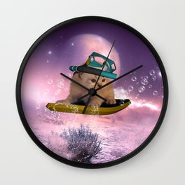 Cute surfing kitten Wall Clock
