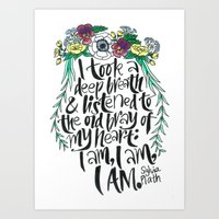 sylvia plath Art Prints featuring Hand-lettered Sylvia Plath quote with flowers by to florence with love