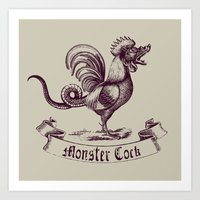 cock Art Prints featuring Cock by sustici