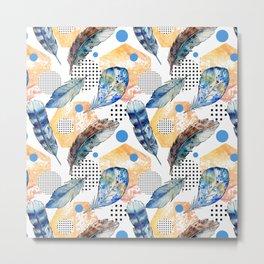 Geometrical blue yellow watercolor bohemian feathers Metal Print