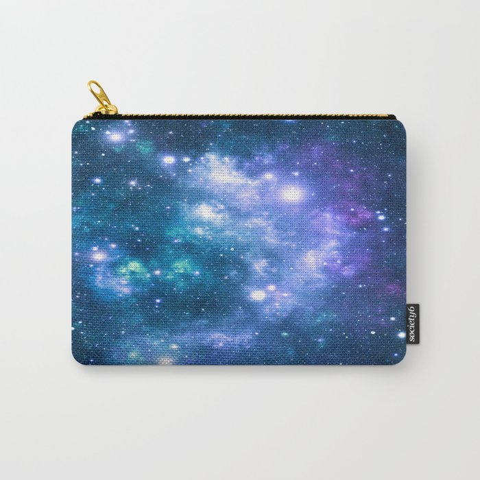 Violet Teal Galaxy Nebula Carry-All Pouch
