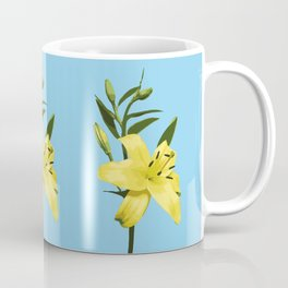 Yellow Lily on Sky Blue Background Illustrated Print Coffee Mug