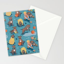 Memories of a Sweet Pit Bull Doggie Friend named Venice // blue linen texture background Stationery Cards