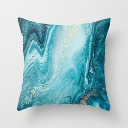 Azure, teal, aqua and gold marble texture Throw Pillow