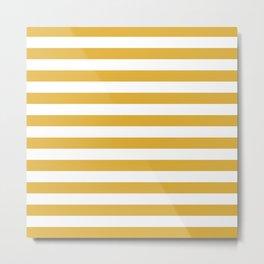 Mustard Yellow Horizontal Stripes Metal Print
