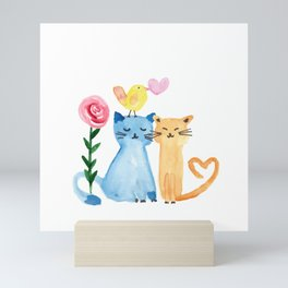 Water painting - cats, bird, heart and rose Mini Art Print