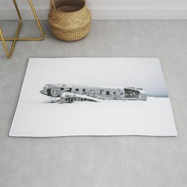 Plane Wreck in Iceland in Winter - Landscape Photography Minimalism Rug