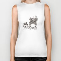 "ohm Biker Tanks featuring ""Ohm"" JujuOwl- Seventh Chakra by JujuOwls and Friends"