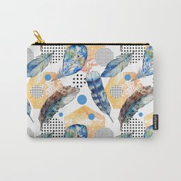 Geometrical blue yellow watercolor bohemian feathers Carry-All Pouch