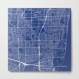 Fort Lauderdale Map, USA - Blue Metal Print