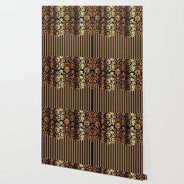 Gold and Black Damask and Stripe Design Wallpaper