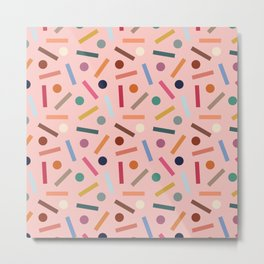 Postmodern Sticks + Stones in Pastel Pink Metal Print
