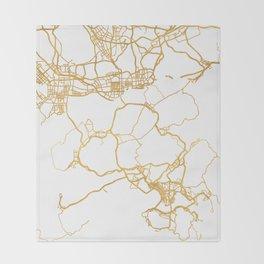 HONG KONG CHINA CITY STREET MAP ART Throw Blanket