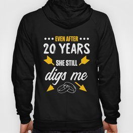 20th 20 year Wedding Anniversary Gift Dig Husband Wife print Hoody