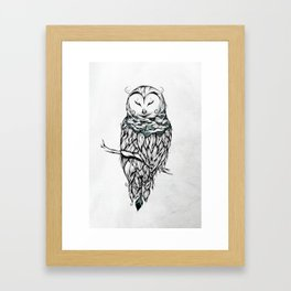 Poetic Snow Owl Framed Art Print
