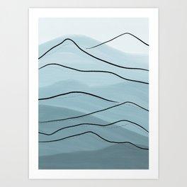 Misty Blue Mountains Art Print
